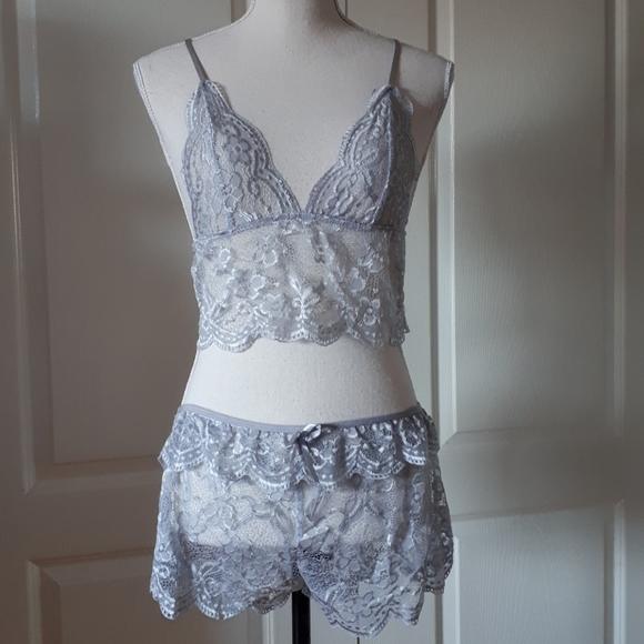Grey lace lingerie set